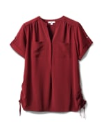 2 Pocket Side Tie  Woven Top - Mood Burgundy - Front
