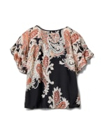 Roz & Ali Paisley Paisley Colder Shoulder Blouse - Misses - Black - Back