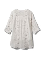 Westport Embroidered Button Front Shirt - Plus - White - Back