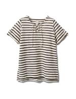 Lace Up Stripe Knit Top - Plus - Black/White - Front