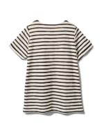 Lace Up Stripe Knit Top - Plus - Black/White - Back