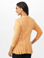 Roz & Ali Marled Button Cardigan - Oatmeal Combo - Back