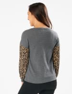 Y Henley Mixed Animal Thermal Knit Top - Misses - Grey - Back