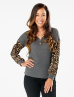 Y Henley Mixed Animal Thermal Knit Top - Misses - Grey - Front