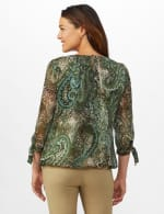 Roz & Ali Lurex Paisley Bubble Hem Blouse - Sage - Back
