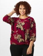 Roz & Ali Floral Crepe Texture Knot Blouse - Plus - Burgundy - Front