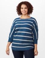 Westport Stripe Curved Hem Sweater - Plus - Vintage Denim/Silver - Front