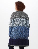 Roz & Ali Ombre Animal Duster Sweater - Plus - Blue Combo - Back