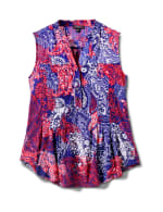 Sleeveless Paisley Pintuck Popover - Navy/Red - Front