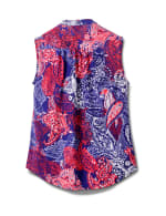 Sleeveless Paisley Pintuck Popover - Navy/Red - Back