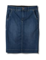 Goddess Skirt, Zip Fly , Front Pockets And Back Slash Pockets - Dark Stone Wash - Front