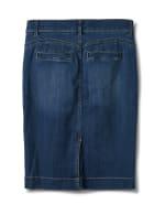 Goddess Skirt, Zip Fly , Front Pockets And Back Slash Pockets - Dark Stone Wash - Back