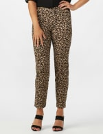 Roz & Ali Animal Print Superstretch Pull On Ankle Pants with Slit Hem - Black/Taupe - Front