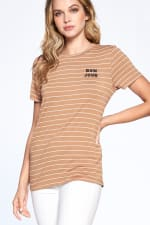Essential Stripe Tee - Sand / Ivory - Front