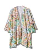 Palm Print Lace Kimono - Plus - Multi - Front
