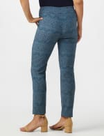 Roz & Ali Printed Superstretch Pull On Ankle Pants With Slits - Blue Combo - Back