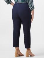 Roz & Ali Solid Superstretch Tummy Panel Pull On Ankle Pants With Rivet Trim Bottom - Plus - Dark Denim - Back