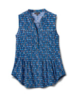 Mixed Geo Sleevless Knit Popover - Navy/Blue - Front