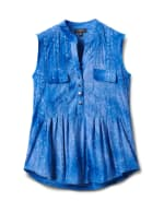 Jaquard Tie Dye Knit Popover-Petite - Dignity Blue - Front