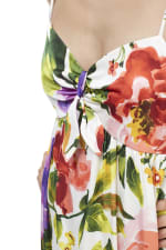 Floral Midi Knot Tie Sundress - Red/Purple - Detail