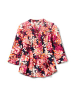 Multi Color Floral Knit Popover - Navy/Pink - Front