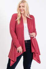 Double Knit Open Cardigan - Marsala - Front
