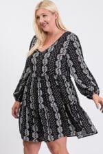 Summer Essential Flowy Dress - Black / Cream - Back