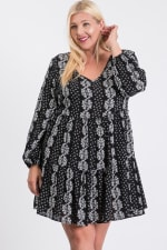 Summer Essential Flowy Dress - Black / Cream - Front