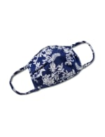 Floral Scroll Fashion Mask - Navy/White - Front