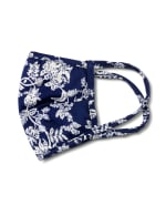 Floral Scroll Fashion Mask - Navy/White - Detail