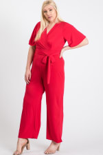 Slayin Yet Simple Jumpsuit - Red - Front
