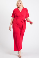 Slayin Yet Simple Jumpsuit - Red - Back