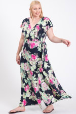 Welcome Summer Floral Dress - Navy / Fuchsia	 - Front
