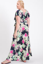 Welcome Summer Floral Dress - Navy / Fuchsia	 - Back
