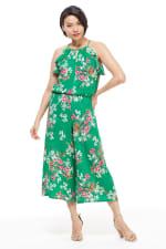Meadow Halter Ruffle Sleeve Jumpsuit - Green/Multi - Front
