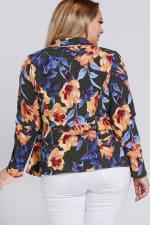 Floral Blazer Jacket - Olive - Back