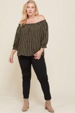 Stripes x Off-Shoulder Top - Olive - Front