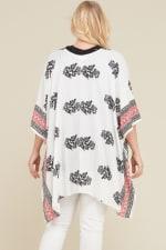 Namaste Kimono/ Cardigan - White / Black / Red - Back