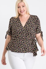Wrapped by Floral Top - Black - Front