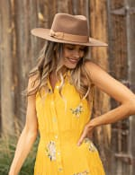 Embroidered Tiered Maxi Dress - Yellow - Detail