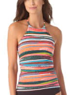 Anne Cole® Sand Stripe High Neck Tankini Swimsuit Top - Multi - Front