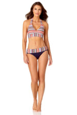 Anne Cole® Jet Set Stripe Halter Bra Swimsuit Top - Multi - Front