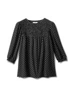 3/4 Sleeve Dot Smocked Knit Top - Misses - Black/White - Front