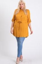 Buttoned Shirt Dress - Mustard - Front