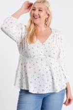 Summer Feeling Floral Peplum Top - Off-White - Front