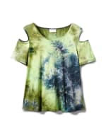 Denim Friendly  Tie Dye Cold Shoulder - Navy/Green - Front