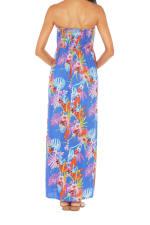 Caribbean Joe® Smocked Maxi Dress - Blue Jewel - Back