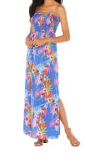 Caribbean Joe® Smocked Maxi Dress - Blue Jewel - Detail