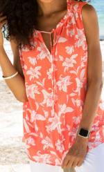 Caribbean Joe® Mixed Media Top - Coral - Detail