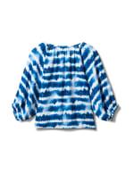 Tie Dye Tie Front Peasant Blouse - Denim Blue - Back
